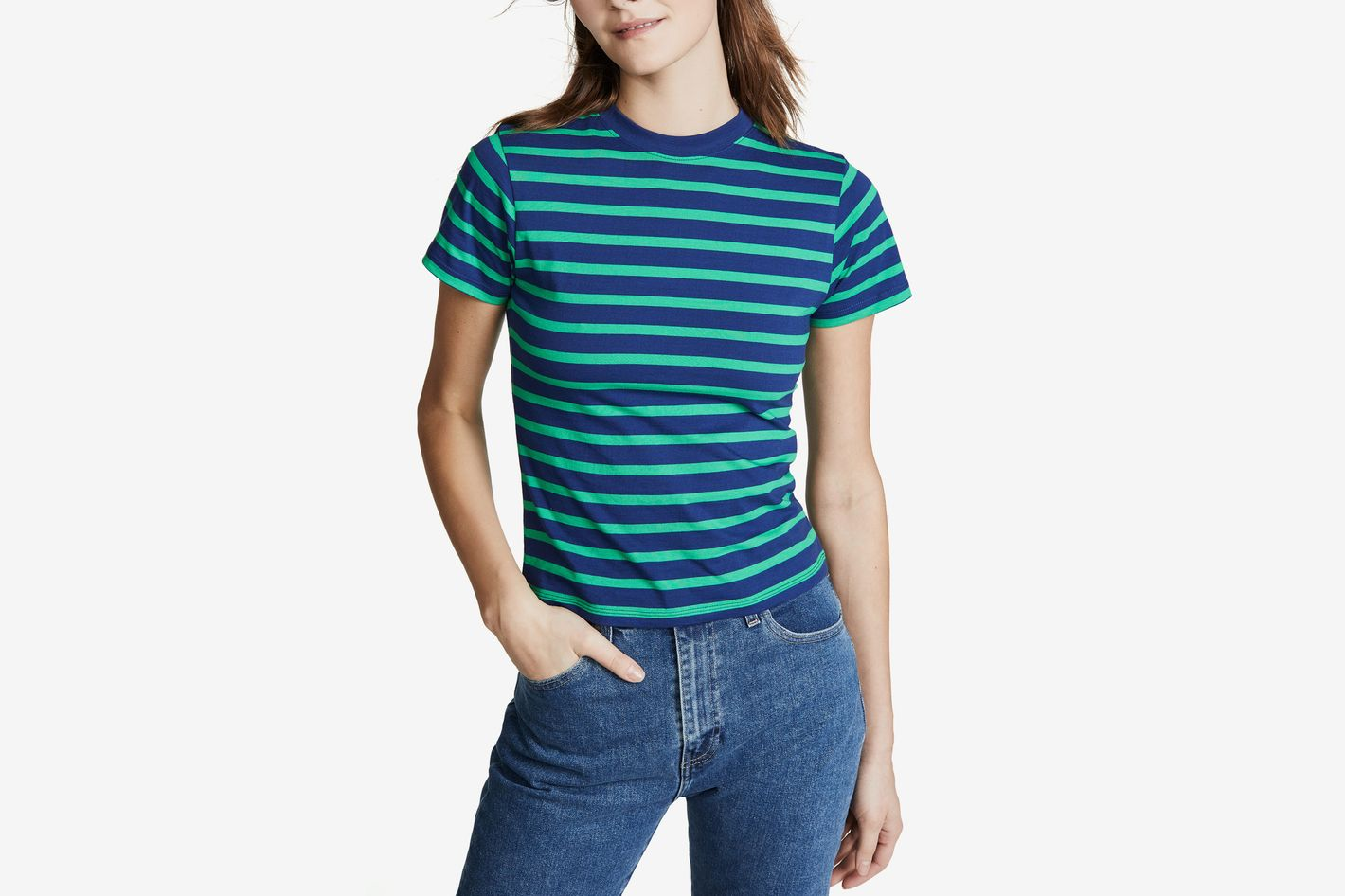 Hanes x Karla Striped Crew Tee Navy/Green