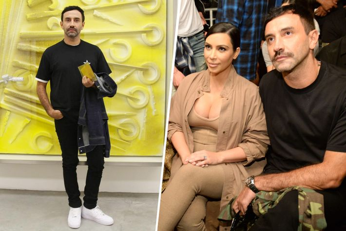 Riccardo Tisci at Prada, left, and at Yeezy with Kim Kardashian, right.