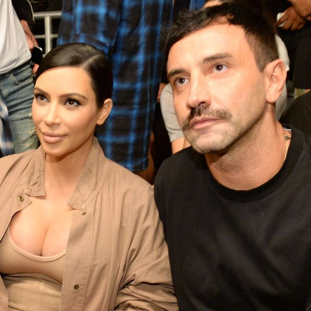 Riccardo Tisci at Prada, left, and at Yeezy with Kim Kardashian, right.
