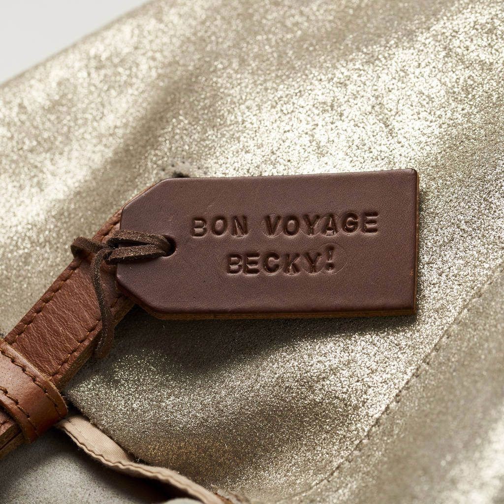 Posh Totty Designs Creates Handstamped Leather Luggage Tag