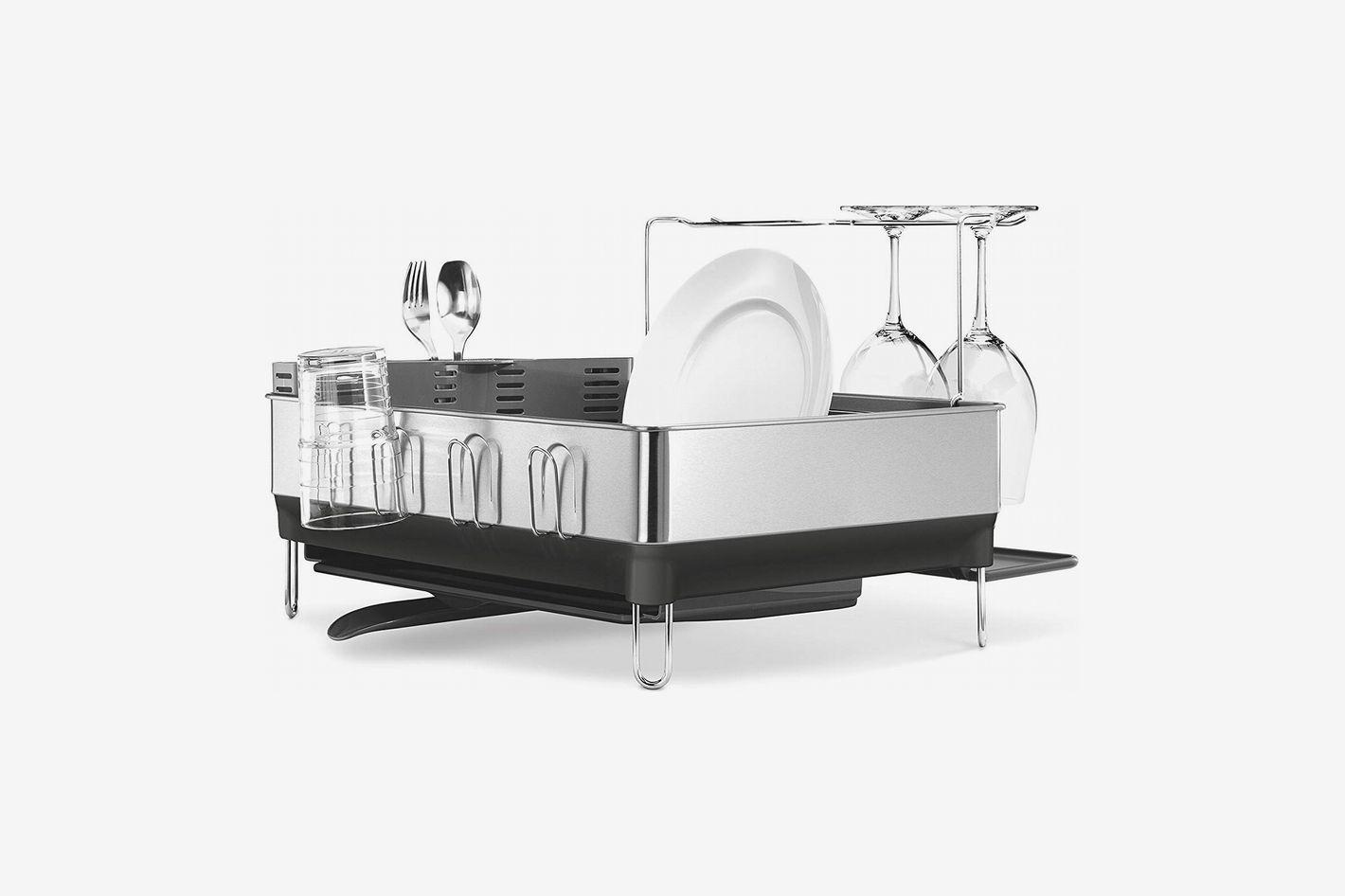 Simplehuman Steel Frame Dish Rack With Wine Glass Holder, Fingerprint-Proof Stainless Steel, Gray