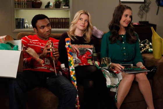 "COMMUNITY -- ""Intro to Knots"" Episode 409 -- Pictured: (l-r) Donald Glover as Troy, Gillian Jacobs as Britta, Alison Brie as Annie -- (Photo by: Jordin Althaus/NBC)"
