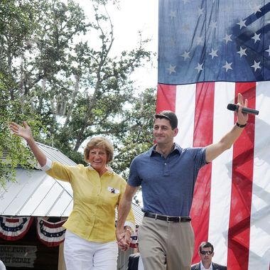 THE VILLAGES, FL - AUGUST 18:  Republican Vice Presidential candidate, U.S. Rep. Paul Ryan (R-WI) (R) and his mother Elizabeth Ryan wave during the Victory Rally in Florida at Town Square, Lake Sumter Landing on August 18, 2012 in The Villages, Florida. Ryan spoke about his family's reliance on Medicare. (Photo by Gerardo Mora/Getty Images)