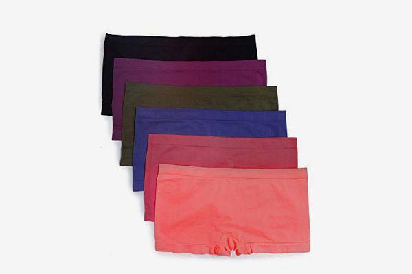 Caramel Cantina Nylon Spandex Plus Size Hipster Boy Short Panties (6-Pack)