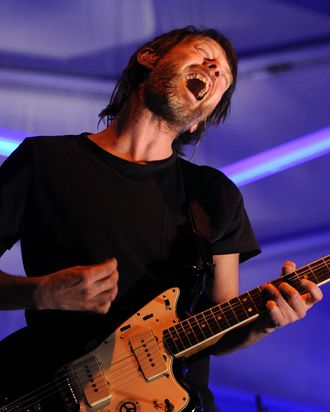 INDIO, CA - APRIL 18: Musician Thom Yorke performs during day 3 of the Coachella Valley Music & Art Festival 2010 held at The Empire Polo Club on April 18, 2010 in Indio, California. (Photo by Michael Buckner/Getty Images) *** Local Caption *** Thom Yorke
