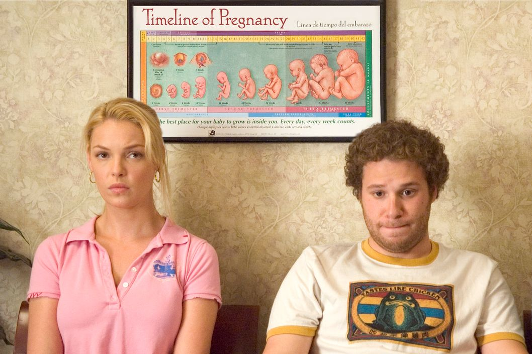"Alison Scott (KATHERINE HEIGL) and Ben Stone (SETH ROGEN) spend some quality time at the OB/GYN in ""Knocked Up"", a comedy about the best thing that will ever ruin your best-laid plans: parenthood."