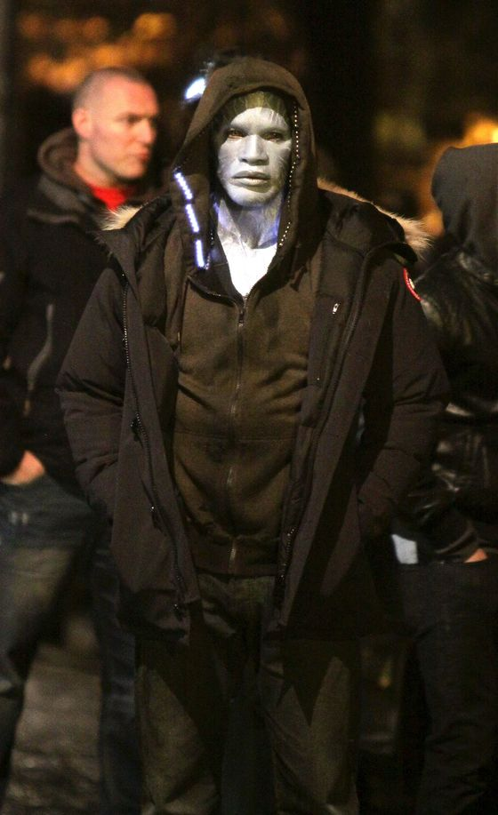 Jamie Foxx pictured wearing his full Electro make up on the set of 'The Amazing Spider-Man 2' movie in Times Square.<P>Pictured: Jamie Foxx<P><B>Ref: SPL526890  160413  </B><BR/>Picture by: Jose Perez / Splash News<BR/></P><P><B>Splash News and Pictures</B><BR/>Los Angeles:	310-821-2666<BR/>New York:	212-619-2666<BR/>London:	870-934-2666<BR/>photodesk@splashnews.com<BR/></P>