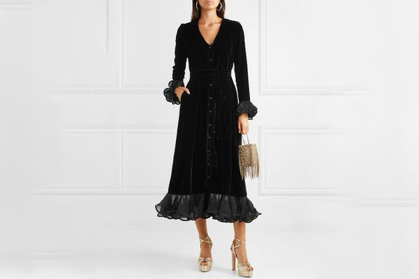 Rotate Birger Christensen Ruffled velvet midi dress