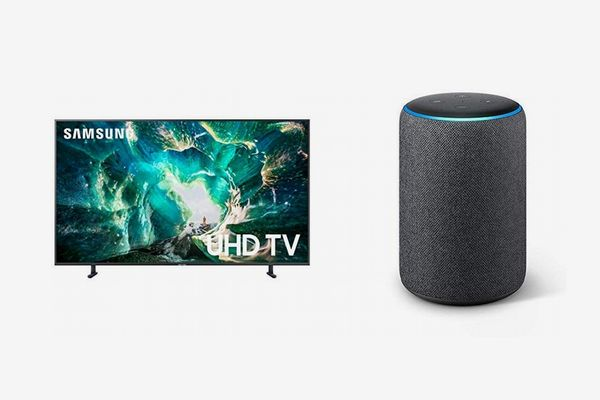 Samsung Flat 55'' 4K UHD 8 Series Smart TV (2019) with Echo Plus (2nd Gen) Bundle- Alexa Smart Home Starter kit - Charcoal