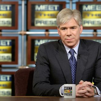 WASHINGTON - DECEMBER 7: (AFP OUT) David Gregory listens during a taping of