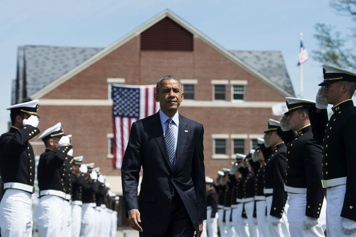 US President Barack Obama arrives to deliver the keynote address during the 134th Commencement Exercises of the US Coast Guard Academy in New London, Connecticut, on May 20, 2015.