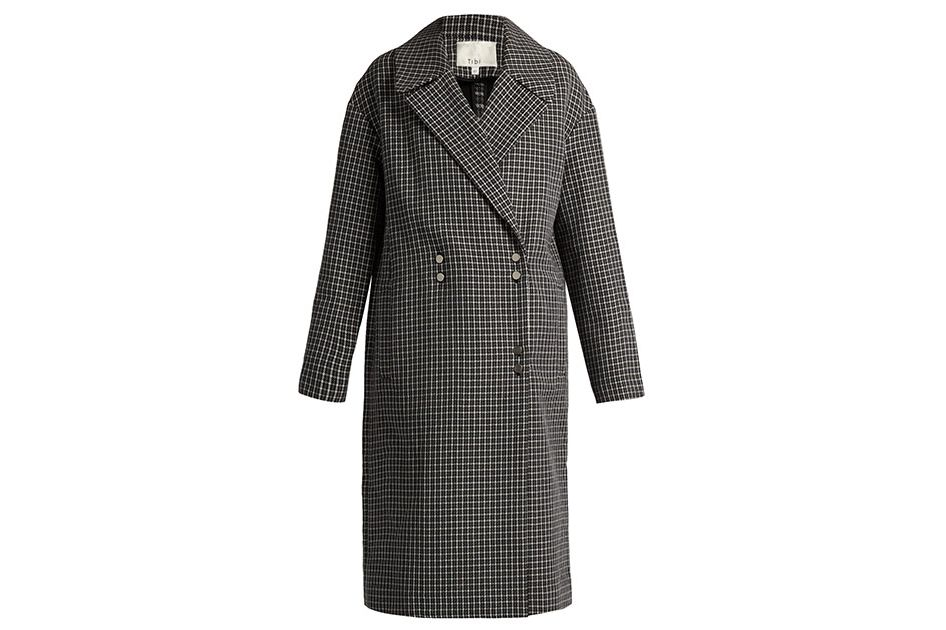 Tibi houndstooth wool-blend coat