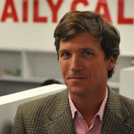 "Tucker Carlson, a conservative pundit, at the office of the new website, the Daily Caller, on January 6, 2010, in Washington, DC.  The site, at which Carlson is the editor-in-cheif, has been branded as a ""conservative Huffington Post."""