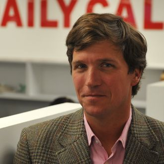 Tucker Carlson, a conservative pundit, at the office of the new website, the Daily Caller, on January 6, 2010, in Washington, DC. The site, at which Carlson is the editor-in-cheif, has been branded as a
