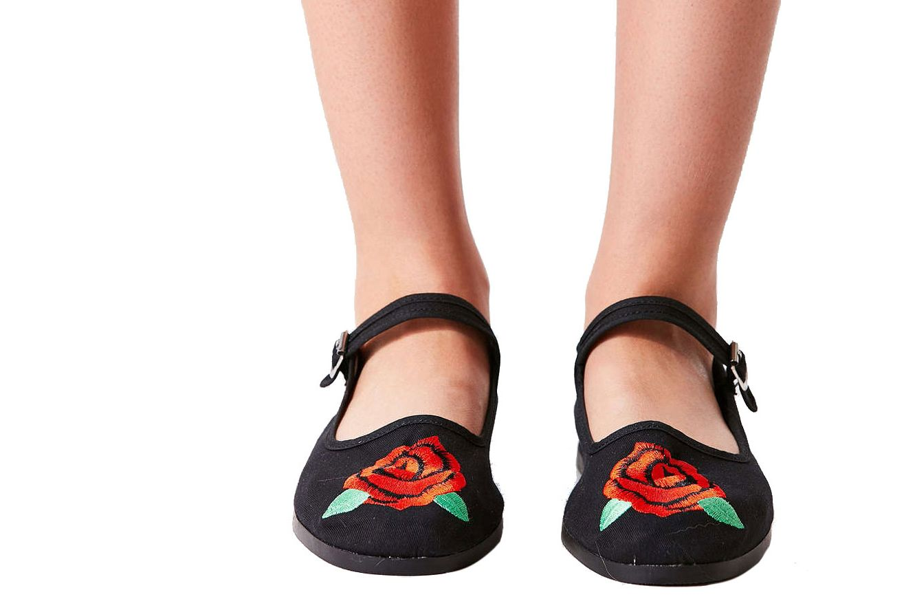 Embroidered Rose Mary Jane Flat