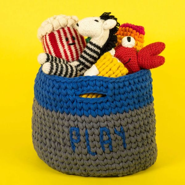 Ware of the Dog Crochet Toy Basket