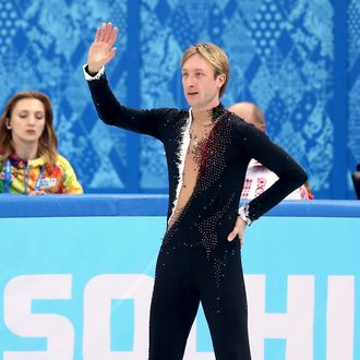 Evgeny Plyushchenko of Russia waves to fans after withdrawing from the competition after warming up during the Men's Figure Skating Short Program on day 6 of the Sochi 2014 Winter Olympics at the at Iceberg Skating Palace on February 13, 2014 in Sochi, Russia.