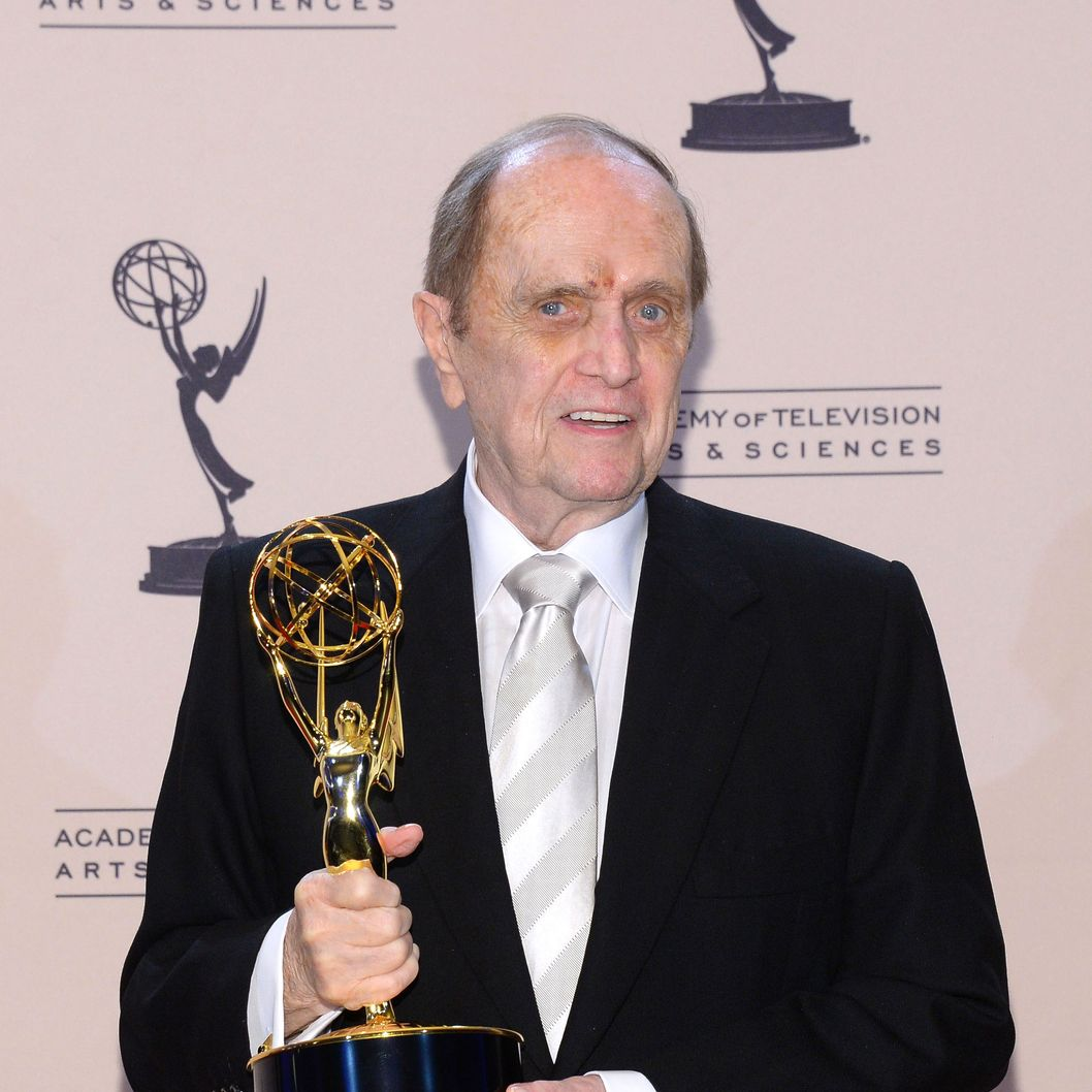 "Actor Bob Newhart poses with the award for outstanding guest actor in a comedy series for ""The Big Bang Theory"" during the 2013 Creative Arts Emmy Awards held at the Nokia Theatre L.A. Live on September 15, 2013 in Los Angeles, California."