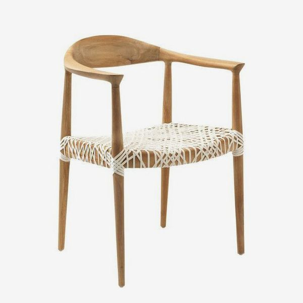 Bandelier Arm Chair, White/Natural
