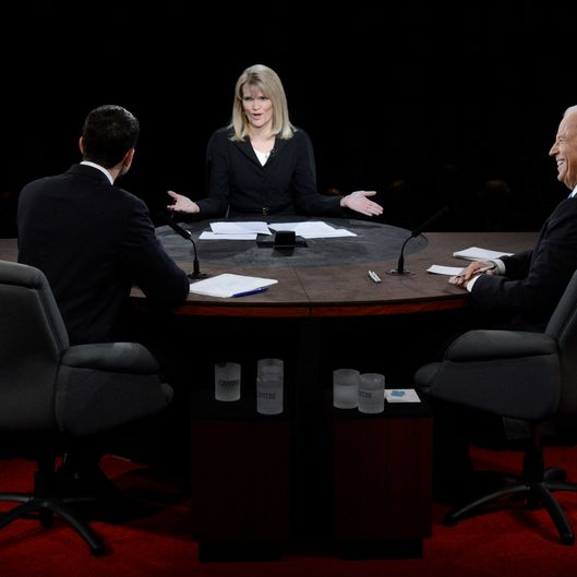 Moderator Martha Raddatz speaks as U.S. Vice President Joe Biden (R) and Republican vice presidential candidate U.S. Rep. Paul Ryan (R-WI) (L) listen during the vice presidential debate at Centre College on October 11, 2012 in Danville, Kentucky. This is the second of four debates during the presidential election season and the only debate between the vice presidential candidates before the closely-contested election November 6.