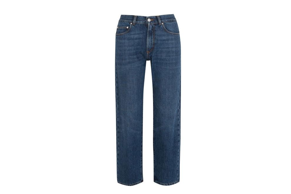 ALEXACHUNG High Rise Cropped Boyfriend Jeans