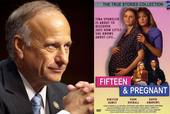 "<b>GOP Rape Comment:</b> Representative <a href=""http://news.yahoo.com/blogs/ticket/rep-steve-king-ve-never-heard-statutory-rape-171810570.html"">Steve King</a> of Iowa, on pregnancy resulting from statutory rape: ""Well I just haven't heard of that being a circumstance that's been brought to me in any personal way.""  <b>Lifetime TV Antidote: </b>Though I found no clear statutory rape pregnancies in the Lifetime oeuvre (Unless the incest pregnancy in <a href=""http://www.mylifetime.com/movies/lies-in-plain-sight""><i>Lies in Plain Sight</i></a> occurred during the victim's teen years? Holler in the comments if you watched it) there are many narratives attesting to the fertility of minors: <a href=""http://www.mylifetime.com/movies/fifteen-and-pregnant""><i>Fifteen and Pregnant</i></a>, starring a young Kirsten Dunst; <a href=""http://www.mylifetime.com/movies/mom-at-sixteen""><i>Mom at Sixteen</i></a>, featuring ""overbearing mother"" Jane Krakowski; <a href=""http://www.mylifetime.com/movies/too-young-to-be-a-dad""><i>Too Young to Be a Dad</i></a>, in which a young Paul Dano knocks up a high schooler; <a href=""http://www.mylifetime.com/movies/plain-truth""><i>Plain Truth</i></a>, in which Mariska Hargitay investigates Amish teen Alison Pill for leaving a newborn to die in a field."