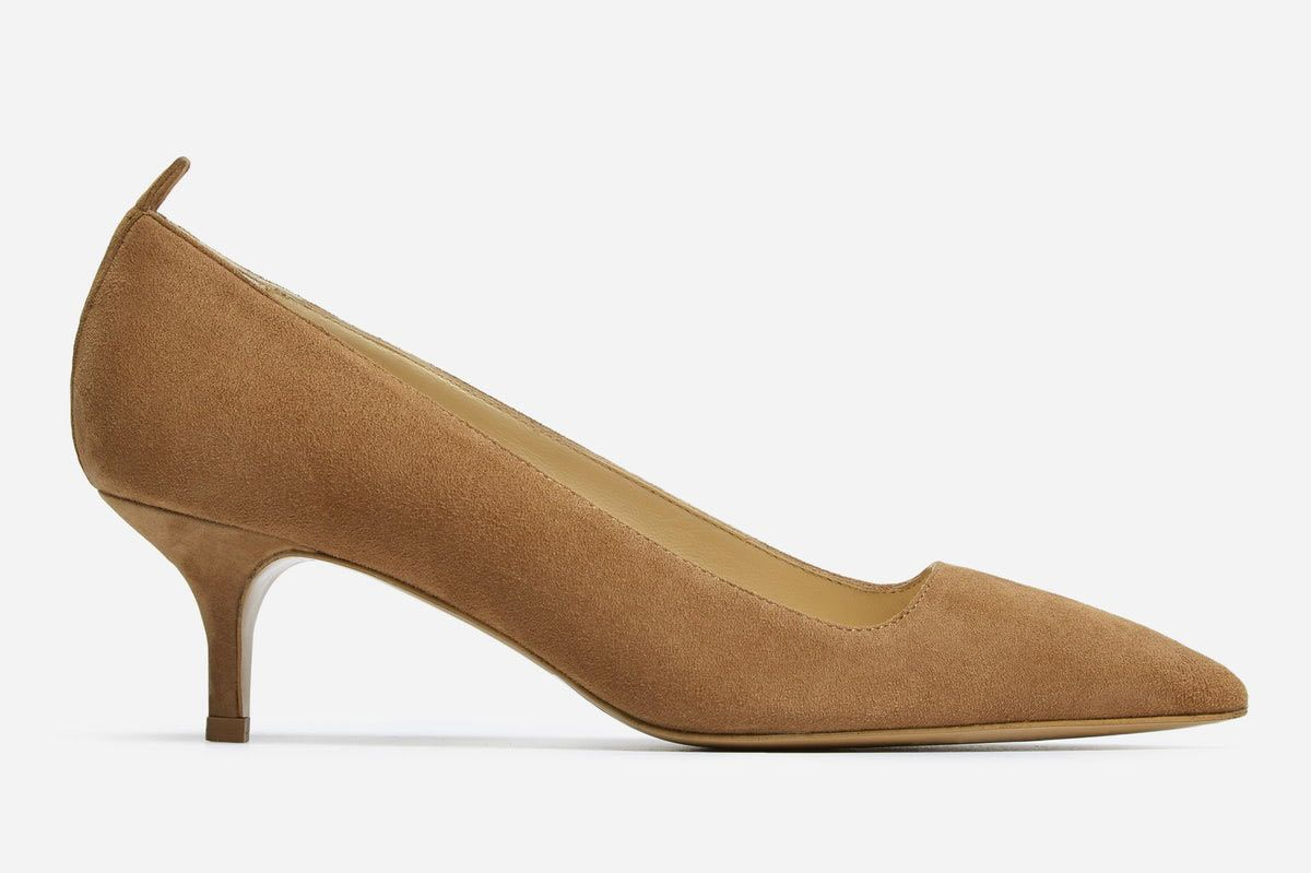 Everlane the Editor Heel in Taupe Suede