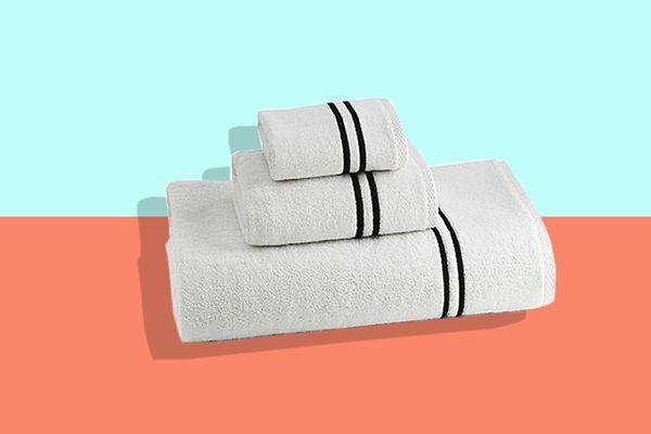Kassatex Baratta Turkish Cotton Bath Towel in White/Black