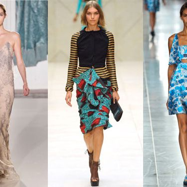 From left: new spring looks from Christopher Kane, Burberry, and Erdem.