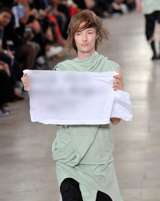 Rick Owens spring 2016. This image has been blurred at the request of the designer.