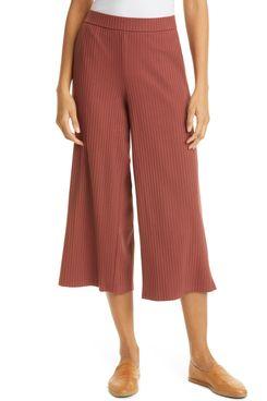 Eileen Fisher Organic Cotton Crop Wide Leg Pants
