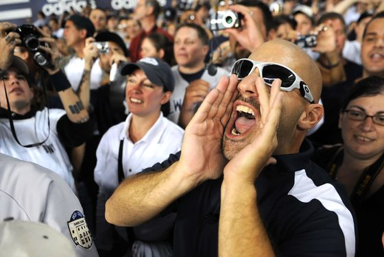 UNITED STATES - SEPTEMBER 21:  Bald Vinny leads the final role call at Yankee Stadium during the 1st inning., The last Yankees game played at Yankee Stadium.  (Photo by Ron Antonelli/NY Daily News Archive via Getty Images)