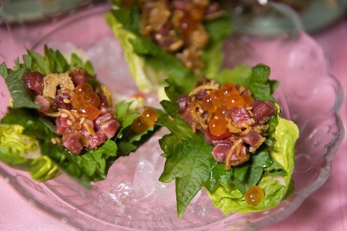Beef tartare with ikura.
