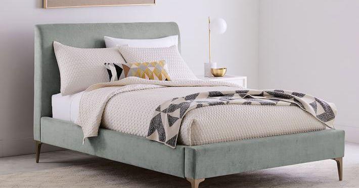 Full Size Metal Bed White Headboard Footboard Modern Bedroom Frames Furniture