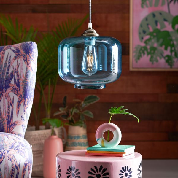 Drew Barrymore Flower Home Teal Glass Pendant Light