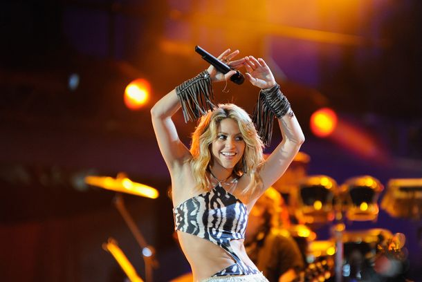 Shakira performs a song during the kick-off celebration concert for the 2010 FIFA World Cup at the Orlando Stadium on June 10, 2010 in Soweto, South Africa.