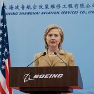 US Secretary of State Hillary Clinton speaks on commercial development at the Boeing Maintenance Facility at Pudong International Airport in Shanghai, May 23, 2010. AFP PHOTO / POOL / Saul LOEB (Photo credit should read SAUL LOEB/AFP/Getty Images)
