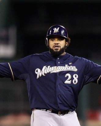 ST LOUIS, MO - OCTOBER 13: Prince Fielder #28 of the Milwaukee Brewers gestures after he hit a double in the top of the fourth inning against the St. Louis Cardinals during Game 4 of the National League Championship Series at Busch Stadium on October 13, 2011 in St. Louis, Missouri. (Photo by Christian Petersen/Getty Images)