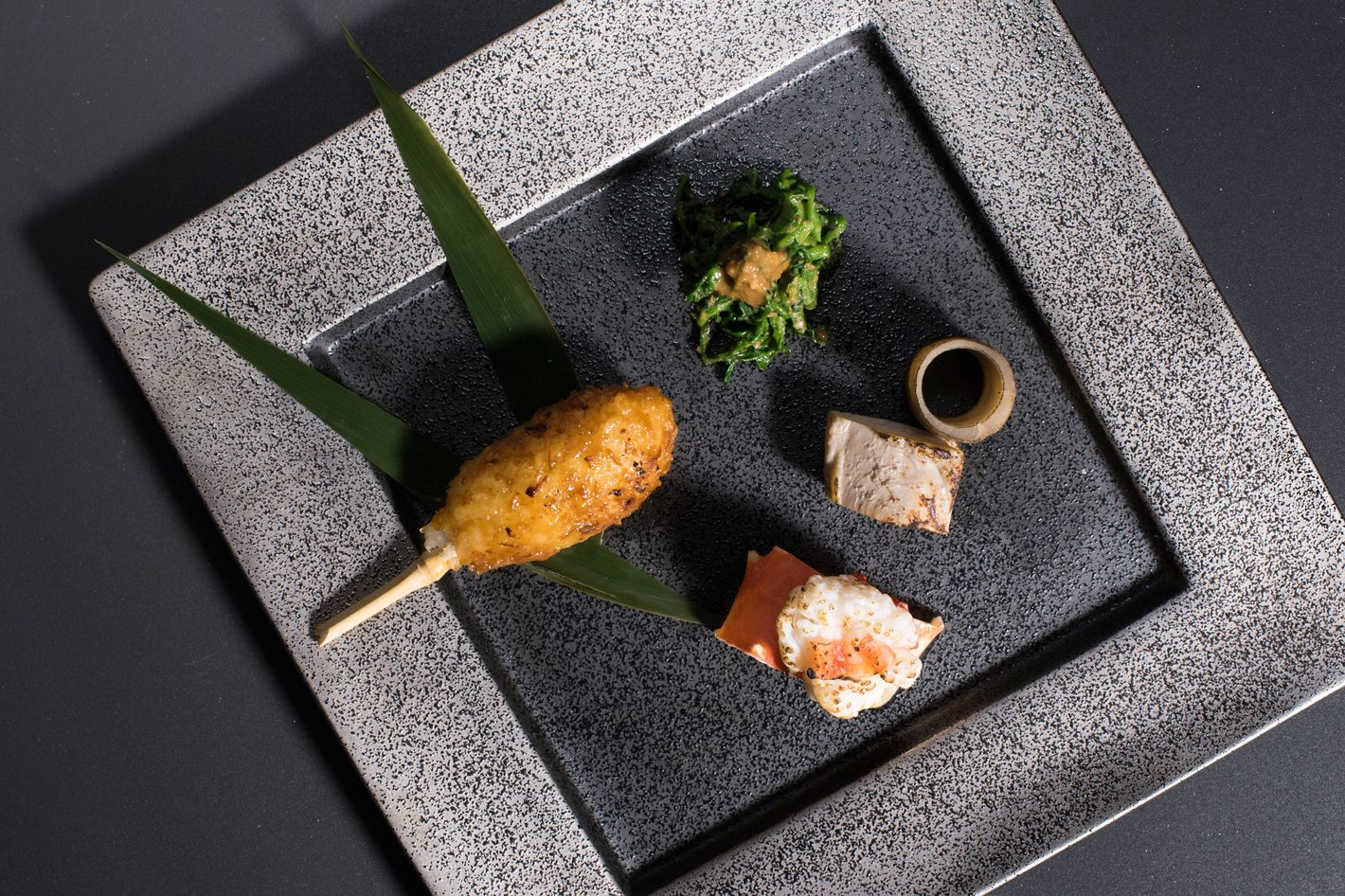 Hassun: king crab, kiritanpo, chicken burdock, watercress goma-ae.