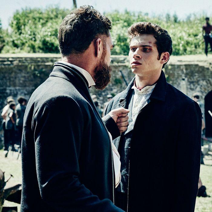 Marton Csokas as Quinn, Oliver Stark as Ryder and Daniel Wu as Sunny - Into the Badlands _ Season 1, Epsiode 1 - Photo Credit: Patti Perret/AMC
