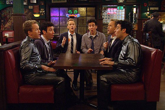 """The Time Travelers"" — Future versions of Ted and Barney try to convince Ted to go see Robots Versus Wrestlers.  Meanwhile, Marshall challenges Robin to a dance-off, on HOW I MET YOUR MOTHER, Monday, March 25 (8:00-8:30 PM, ET/PT) on the CBS Television Network.  Jayma Mays (""Glee"") guest stars as a coat check girl."