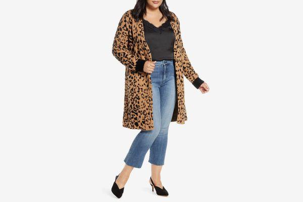 1.STATE Leopard Jacquard Eyelash Cardigan