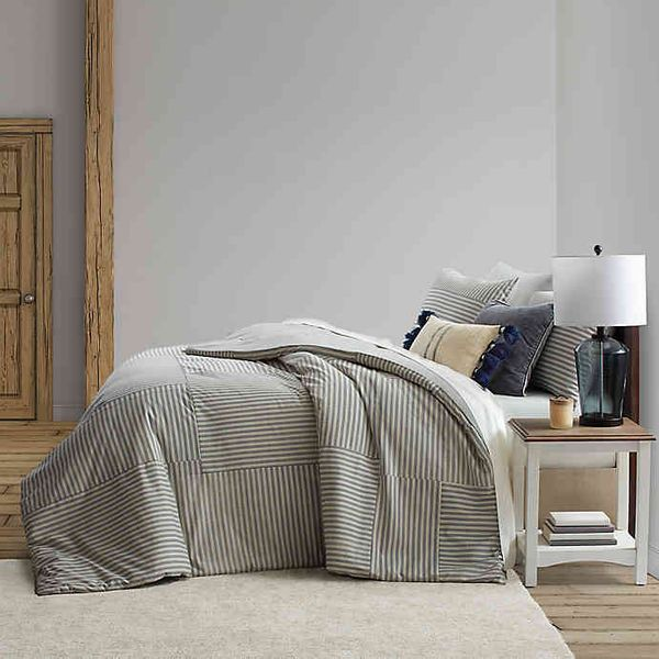 Bee & Willow Home Ticking Stripe Reversible Full/Queen Duvet Cover Set