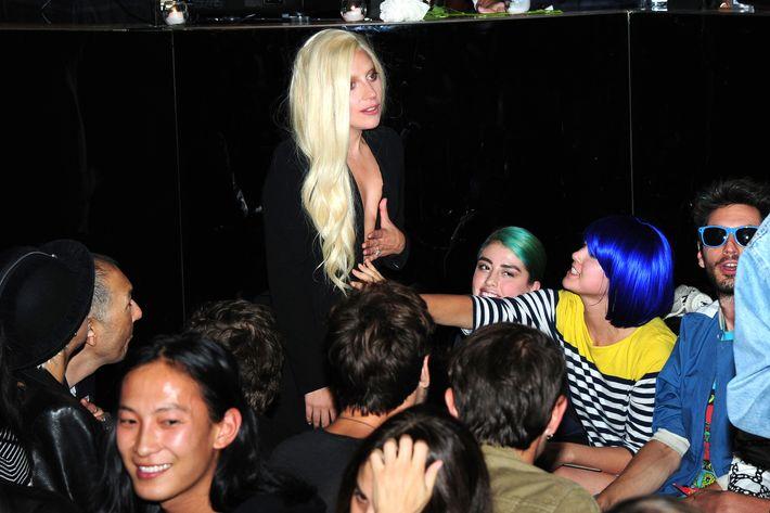 Lady Gaga at Brandon Maxwell's debut show.