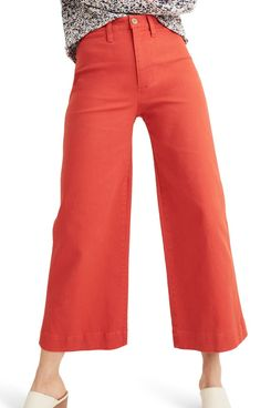 Madewell Emmett Crop Wide Leg Pants, Americana Red
