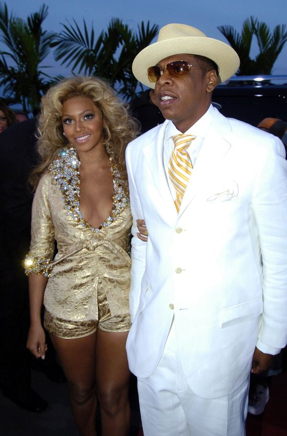 Beyonce and Jay-Z during 2004 MTV Video Music Awards - Red Carpet at American Airlines Arena in Miami, Florida, United States. (Photo by Jeff Kravitz/FilmMagic)