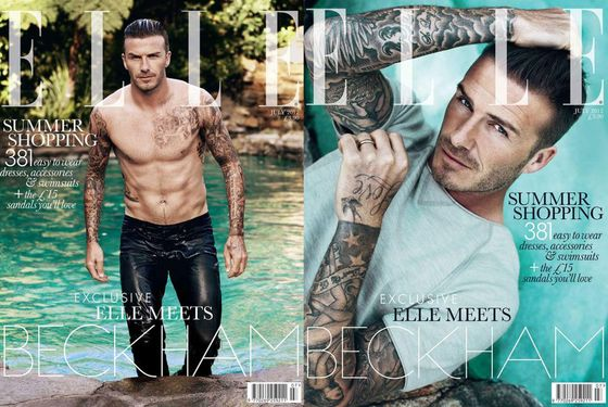 David Beckham Is Shirtless and Wearing Wet Skinny Jeans on British Elle's ...