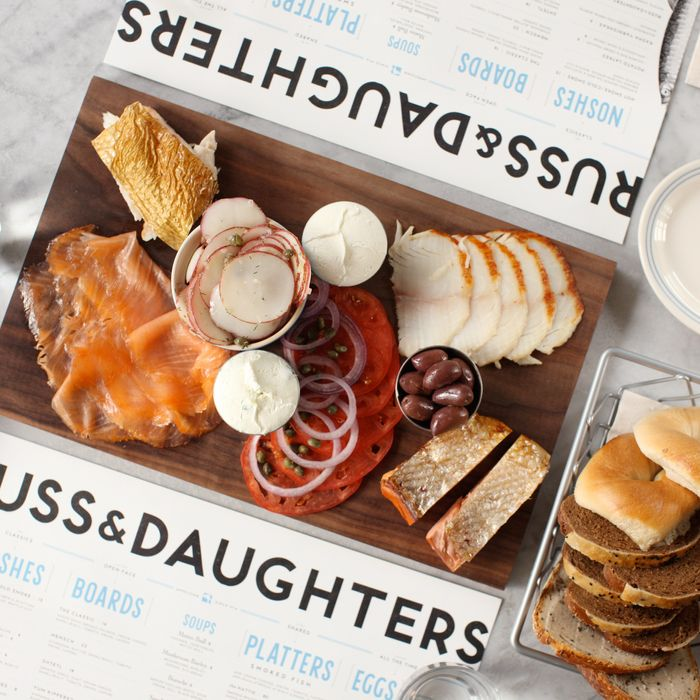 An all-star platter of smoked whitefish, kippered salmon, Gaspe Nova, and sable.