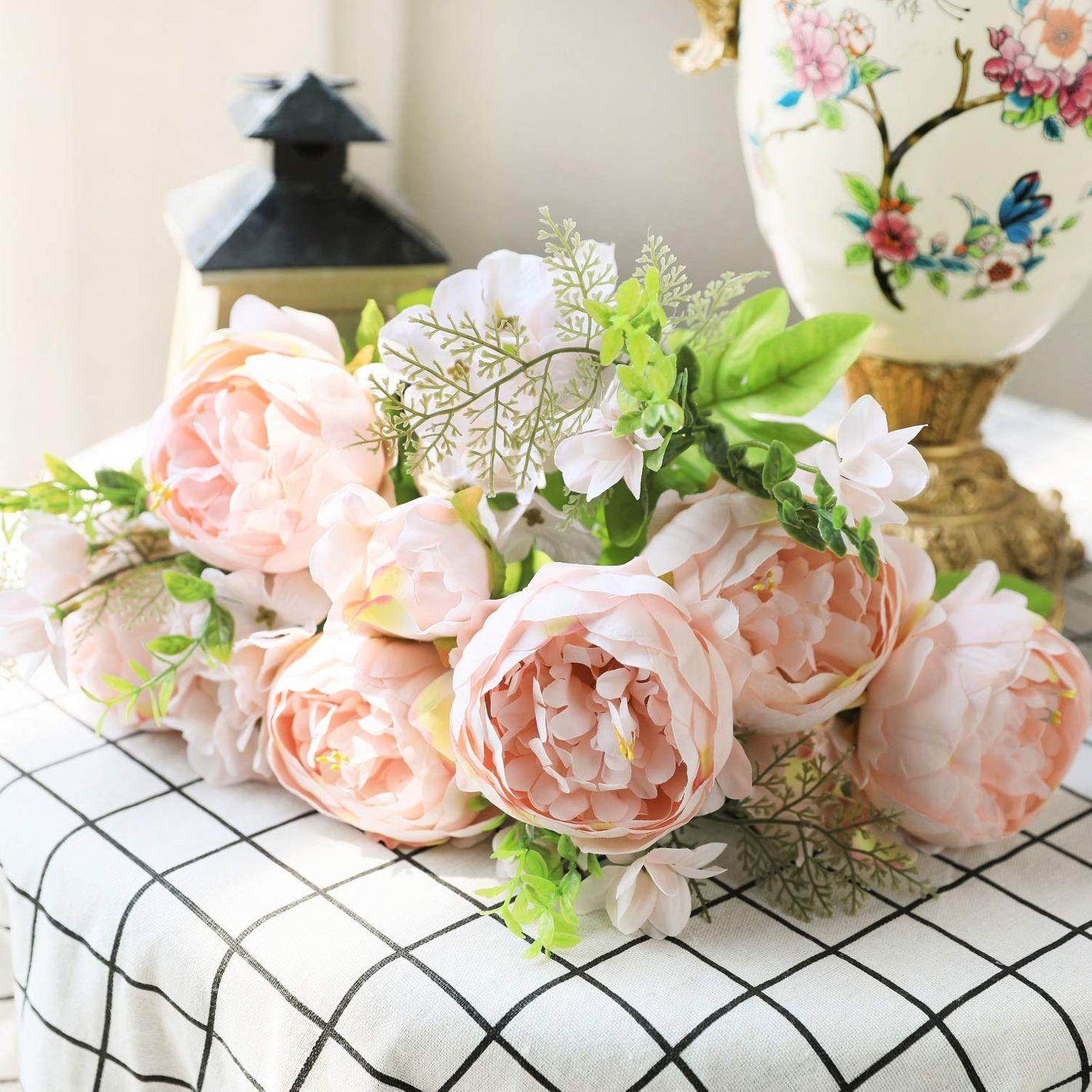 Luyue Vintage Artificial Peony Silk Flowers (Spring Peach Pink)