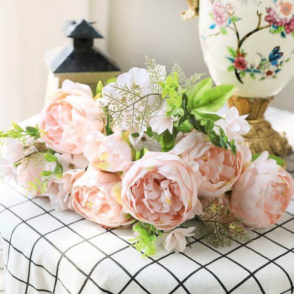 Luyue Vintage Artificial Peony Silk Flowers (Spring Peach Pink)